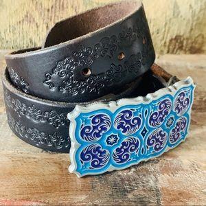 Alison Daniel Designs Belt Buckle & Leather Strap